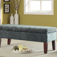 Teal Velvet Storage Bed Bench