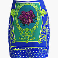 Royal Blue Vintage Print Mini Skirt