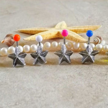 Starfish Belly Button Ring Body Jewelry Choose Color