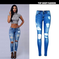 2017 New Ripped Hole Jeans for Women Hollow Out Jeans Femme Skinny Butt Lifting Pencil Jeans Full Length Hole Style Jeans