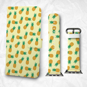 Gift Set iPhone case and Apple Watch Band 38mm 48mm Pineapple pattern iPhone 6S iPhone 6S Plus iPhone 5S iPhone 4S case (BBSG-031)