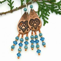 Dog Rescue Heart Paw Print Earrings, Turquoise Chandelier Jewelry Gift