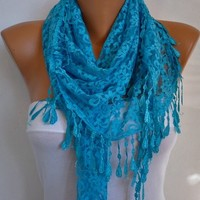 Blue Lace Scarf - Shawl Women Scarves Cowl Scarf Bridesmaid Gift