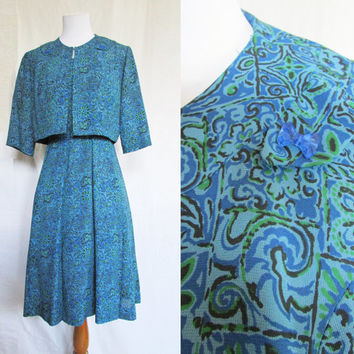 Dress Bolero Set Vintage 60s Carrie Walker XL
