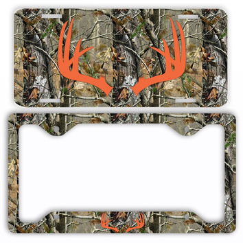 Orange Antlers Camo Deer License Plate Frame Car Tag Country Hunting