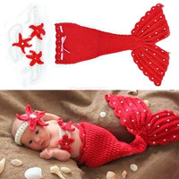 Headband Cloth Romper Red Mermaid Baby Girl Cap Hat Knit Photo Prop Outfit 18851 Apparel & Accessories (Color: Red)