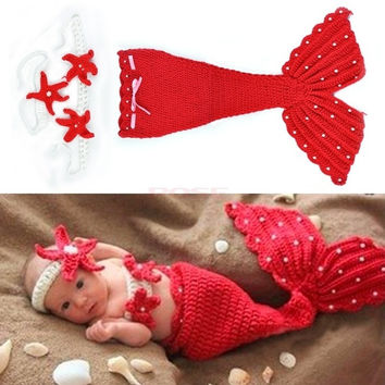 Headband Cloth Romper Red Mermaid Baby Girl Cap Hat Knit Photo Prop Outfit 18851 Apparel & Accessories (Color: Red) = 1958051140