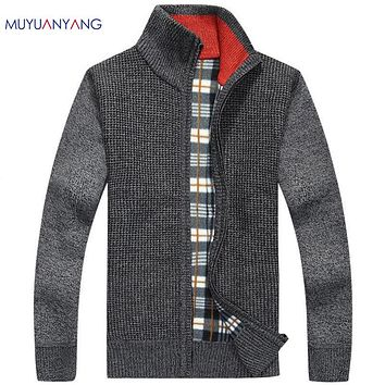 Mens Cardigan Sweater Thicken Velvet Knitwear Men's Cardigans Sweaters Stand Collar Wool Blended Solid Warm Clothing Plus Size