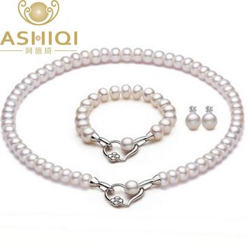 Natural Freshwater Pearl Necklace Bracelet Stud Earrings For women Wedding Accessories Heart  Real Pearl Jewelry Sets