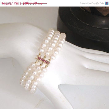 YES, CRAZY 35% OFF: Ashira Genuine 14k Yellow Gold Natural Ruby Clasp 3 Strand Akoya Ivory Pearl Bracelet