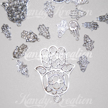 20 Silver Hamsa Hands Metal Pendants for Kandi Hemp Pony Beads Necklaces Jewelry hasma hand necklace jewelry mixed set