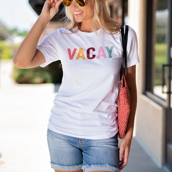 Vacay Colorful Crew Neck Top : White