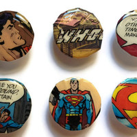 Comic Book Magnets - Set of 6 - Party Favors, Superman, Fridge, Home