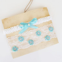 Garter, Wedding Garter Blue, Light Blue Garter, Lace Wedding Garter, Bridal Garter, Something Blue, Wedding Gift, Handmade Garter, Garters