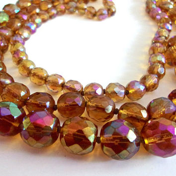 Amber Carnival Glass Bead Necklace, Faceted, Multi 3 Strand, Vintage
