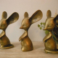 3 vintage Big Eared brass Mice ... 3 blind mice ... mouse ... rats rat