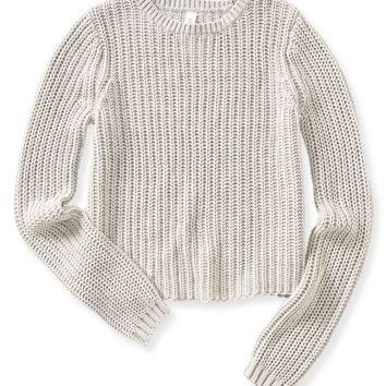 Aeropostale  Womens Shaker Stitch Crop Sweater - Gray, X-Small