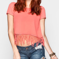Full Tilt Womens Fringe Crop Top Coral  In Sizes
