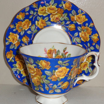 Royal Albert Chintz Glamis Pattern Cup and Saucer Merrie England Series Fine Bone China Made in England  Free Standard Shipping in the U.S.