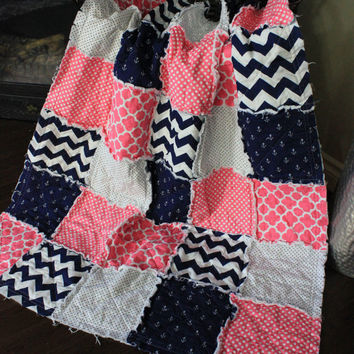 Baby Rag Quilt, Pink Nautical Baby Quilt, Crib Quilt, Anchor, Pink, Navy and White, Ready To Ship