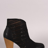 Qupid Perforated Suede Cowgirl Chunky Heeled Booties