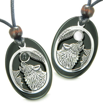 Amulets Howling Wolf Moon Love Couples White Cats Eye Black Agate Yin Yang Pendant Necklaces