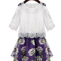 White Short Sleeve Floral Lace Overlay Mini Skater Dress