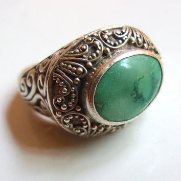 Green Stone SAMUEL BEHNAM BJC Sterling Silver Ring, Scroll Work, Vintage sz 10 - 10.25
