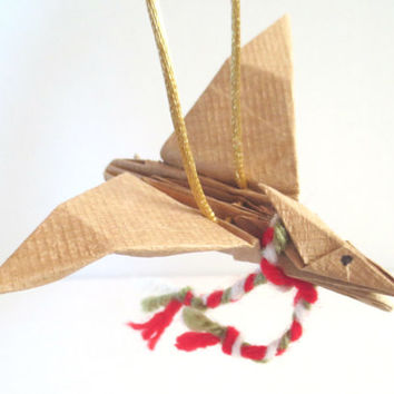 Origami Dinosaur Ornament, Pteranodon with Scarf, Brown