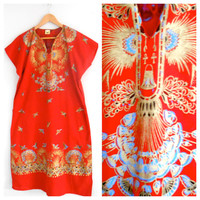 Red Vintage Dress Shirt Dress Long Red with Gold Design Printing Birds Hippie Gypsy Festival Flowers Onesuit FREE SHIPPING
