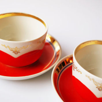 Set of 2 vintage red gold polka dot teacups tea coffee mocha espresso cups mug serving demitasse jug porcelain china ceramic