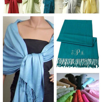 Monogram Wedding Shawl Faux Pashmina Bride, Maid Of Honor, Bridesmaid, Mother of the Bride, Mother of the Groom XL Wrap Size 28x78
