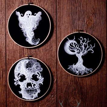 Embroidered Halloween Hoops