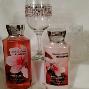 Bath and Body Works Japanese Cherry Blossom Shower Gel and Lotion, Mesh Bath Sponge, Cabernet Wine Glass