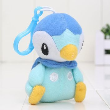 9-12cm Pocket Mew Piplup Bulbasaur Eevee Squirtle Plush Toy Stuffed Plush Doll pendant keychain with hook