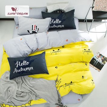 SlowDream Nordic Yellow Bedding Set Cotton Duvet Cover Bedspread Bed Linen Flat Sheet Set Queen King Adult Double Bedclothes