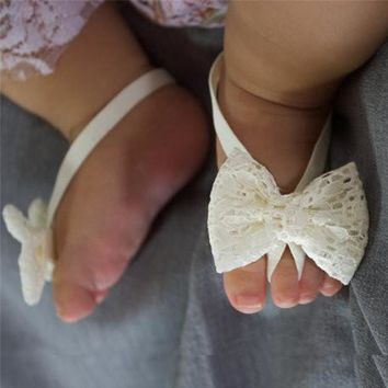 Newborn Baby Flower Sandals Lace Solid Footwear Barefoot Sandals Newborn Girls Foot Accessories