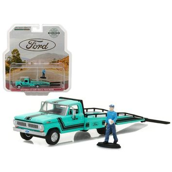 1970 Ford F-350 Ramp Truck with Truck Driver Figure Hobby Exclusive 1-64 Diecast Model Car by Greenlight