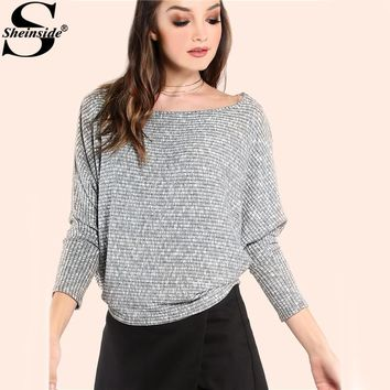 Sheinside Peppered Knitted Batwing T-shirts Grey Long Sleeve Women Autumn Tops 2017 Fashion Casual Boat Neck Girl Basic T-shirt