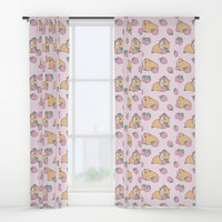 Pink Strawberries and Guinea pig pattern Window Curtains by noristudio