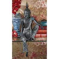 "23"" Asian Buddha Nirvana Shelf Sitting Serenity & Stillness Meditation Sculpture"