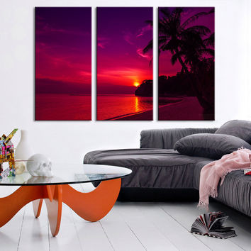 Large Wall Art Red Sunset on Ocean and Palms on Beach Canvas Print - Sunset Scenery 3 Panel Canvas Art For Wall Decor