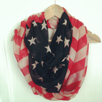 vintage American flag Winter Olympics Sochi 2014 USA infinity scarf red, white and blue 4th of July scarf by Lulu Belle Designs