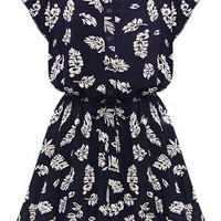 Navy Blue Stand Collar Batwing White Printed Casual Dress