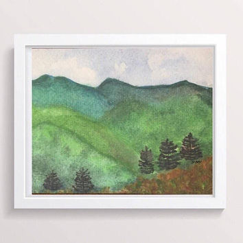 Mountain landscape Print, Smoky mountains, impressionist watercolor landscape painting, Tennessee Original, abstract mountains, Pigeon Forge