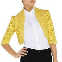 Luxurios Fashion Women embroidered bolero jacket cardigan yellow black size M