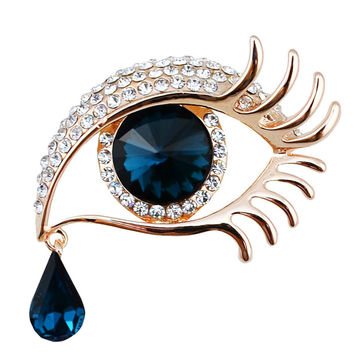 New Models Loved Clothes Sweater Accessories Simple Crystal Brooches Golden Plated Exaggeration Eye Brooch pins