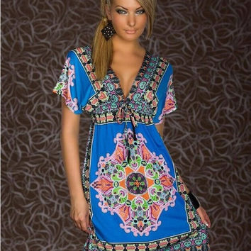 Summer 2015 Fashion Retro SunDresses Vintage  Print Hippie Bohemian Knee-Length Beach Dress