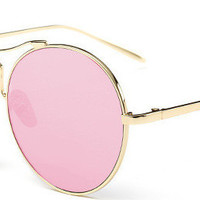Steampunk Mirrored Lens Round Sunglasses Pink