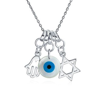 Star David Hamsa Hand Evil Eye Charm Pendant Necklace Sterling Silver